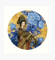 Lady with an Archaeoceratops Art Print