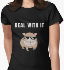 Funny Animal Guinea Pig Tshirt Design Deal with it Women's Fitted T-Shirt