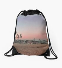 Vintage Palm Trees in the Sunset with Lifeguard Tower Drawstring Bag