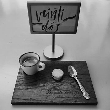 Expresso on a Wooden Plank in Black and White by josemontanez18
