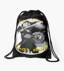 Get'ith Wrecked Naive Black and White Drawstring Bag