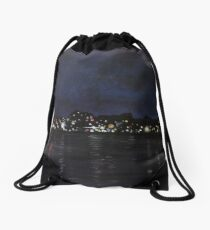Midland Harbour at Night Drawstring Bag