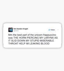 Awsten Knight Tweet Unicorn Frap Sticker