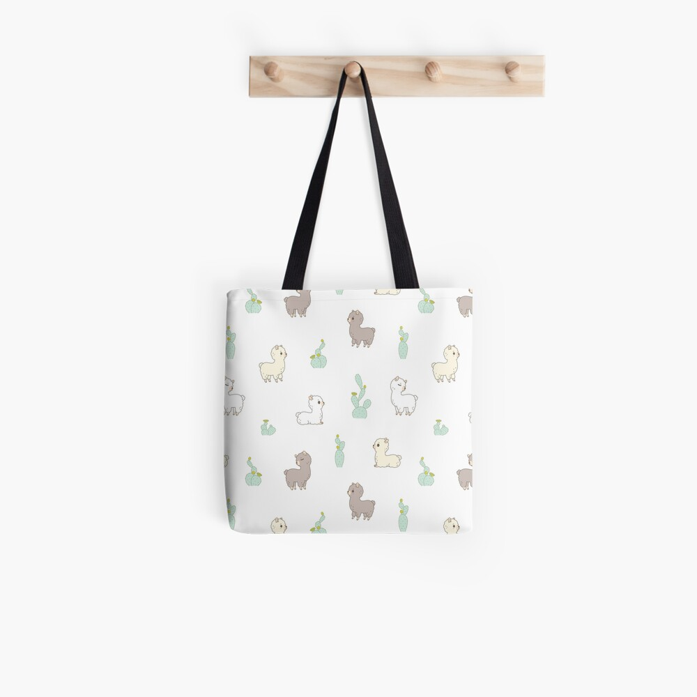 Alpaca pattern with cactus in white background  Tote Bag