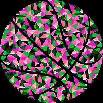 Kaleidoscope Basketball Pink Green Polygon by Distrill