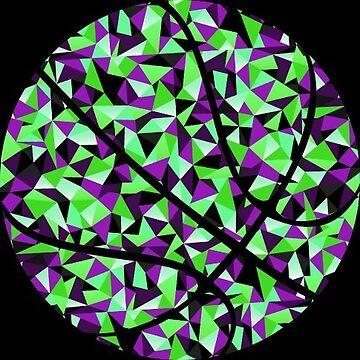 Kaleidoscope Basketball Purple Green Black Polygon by Distrill