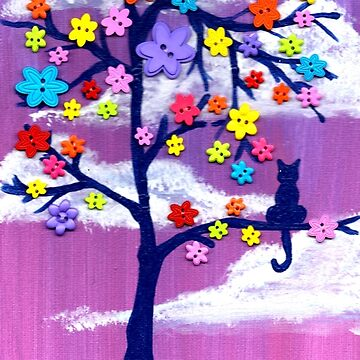 Cat in the button Tree by missmann