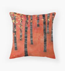 Birches - Autumn Woodland Abstract Landscape Throw Pillow