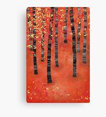 Birches - Autumn Woodland Abstract Landscape Canvas Print