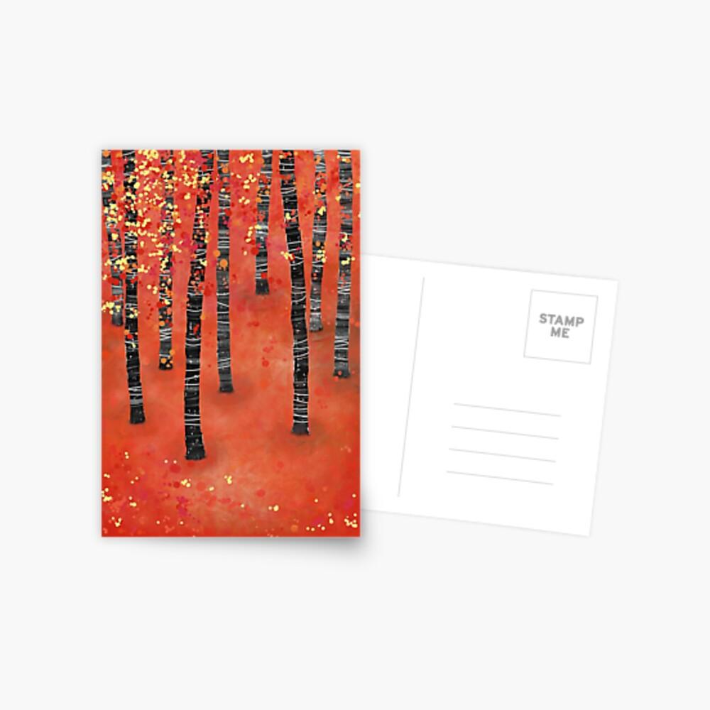 Birches - Autumn Woodland Abstract Landscape Postcard