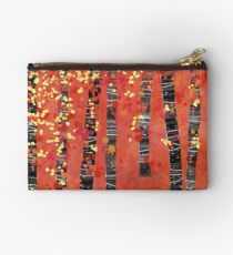 Birches - Autumn Woodland Abstract Landscape Zipper Pouch