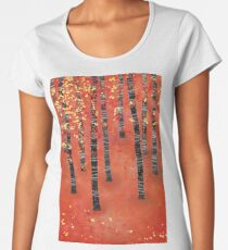 Birches - Autumn Woodland Abstract Landscape Women's Premium T-Shirt