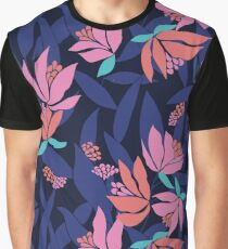 Midnight blue floral pattern with contrasting pinks and oranges. Graphic T-Shirt