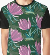 Dark and Moody Purple and Green Floral  Graphic T-Shirt