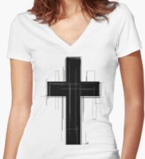 UnChristian Cross Women's Fitted V-Neck T-Shirt