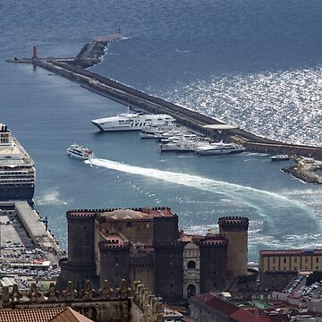 Naples Distinctive Harbor in Silver and Blue - Castles and Cruise Ships From Above by GeorgiaM