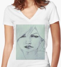 Acrylic Artwork Art Painting Inspiration Graphic Print Women's Fitted V-Neck T-Shirt