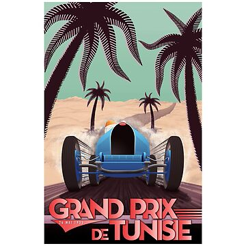 1933 Tunisian Grand Prix - Vintage Poster Design by Chunga
