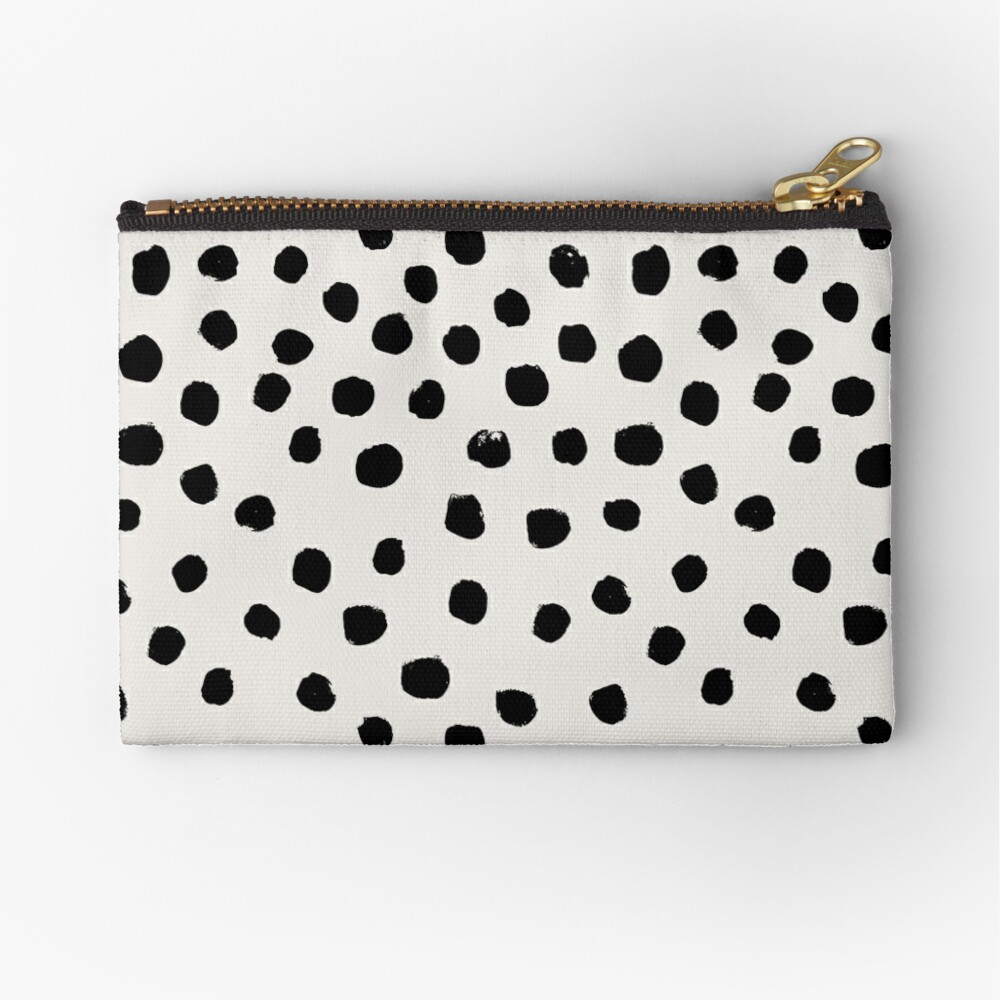 Preppy brushstroke free polka dots black and white spots dots dalmation animal spots design minimal Zipper Pouch