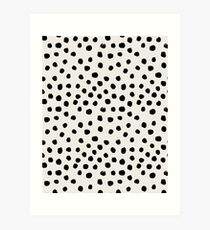 Preppy brushstroke free polka dots black and white spots dots dalmation animal spots design minimal Art Print