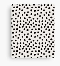 Preppy brushstroke free polka dots black and white spots dots dalmation animal spots design minimal Canvas Print