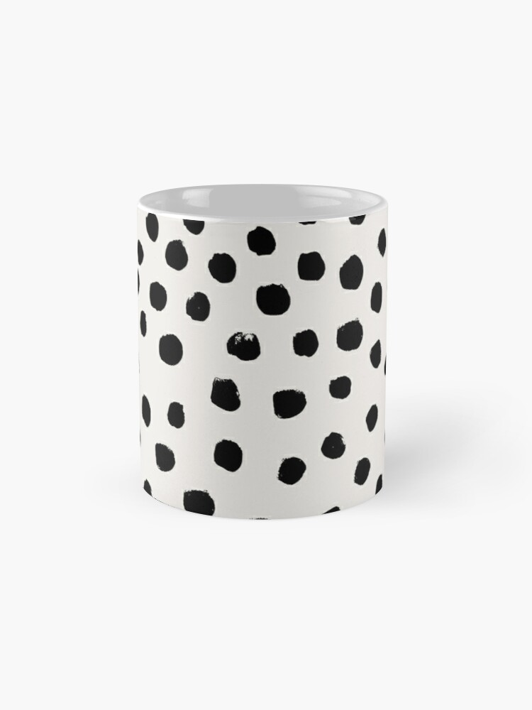 Alternate view of Preppy brushstroke free polka dots black and white spots dots dalmation animal spots design minimal Mug