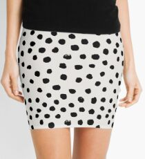 Preppy brushstroke free polka dots black and white spots dots dalmation animal spots design minimal Mini Skirt