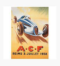 1938 French Grand Prix - Vintage Poster Design Photographic Print