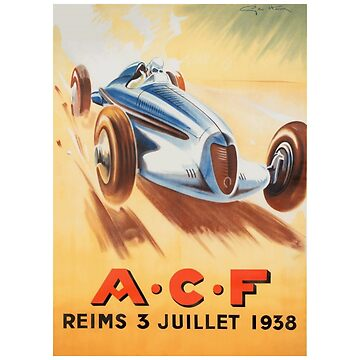 1938 French Grand Prix - Vintage Poster Design by Chunga