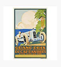 Grand Prix du Cap D'Antibes - Vintage Racing Poster Design Photographic Print