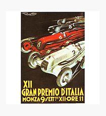 1934 Italian Grand Prix - Vintage Poster Design Photographic Print
