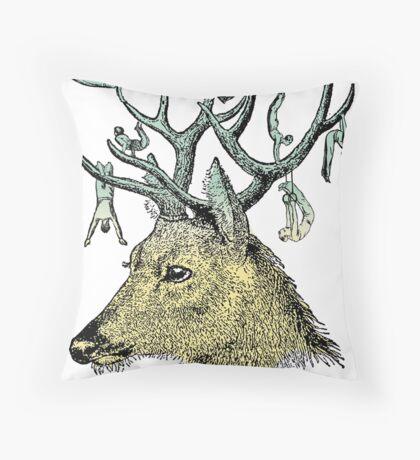 Deer Gymnastics Throw Pillow