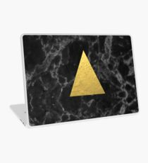 Black Gold Marble Tri - dark solid classic gold foil on marble cell phone case for college dorm  Laptop Skin