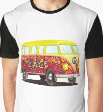 Peace and Love Retro Hippie Mini Bus Graphic T-Shirt