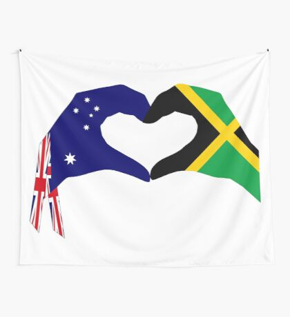 We Heart Australia & Jamaica Patriot Flag Series Wall Tapestry