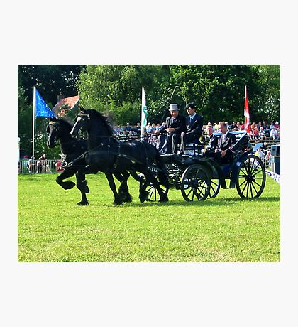 Friesian Horses in Action Photographic Print