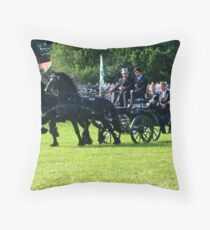 Friesian Horses in Action Throw Pillow