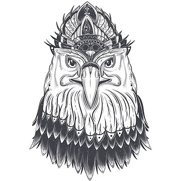 Tribal Eagle Head With Feathers by xJLe