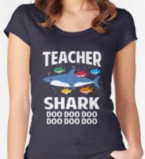 Teacher Shark Funny Teaching Baby Shark Women's Fitted Scoop T-Shirt