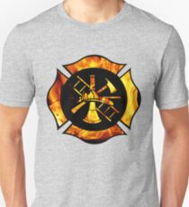 Flaming Maltese Cross Unisex T-Shirt