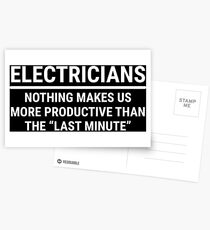 Funny Electricians Productive Last Minute T-shirt Postcards