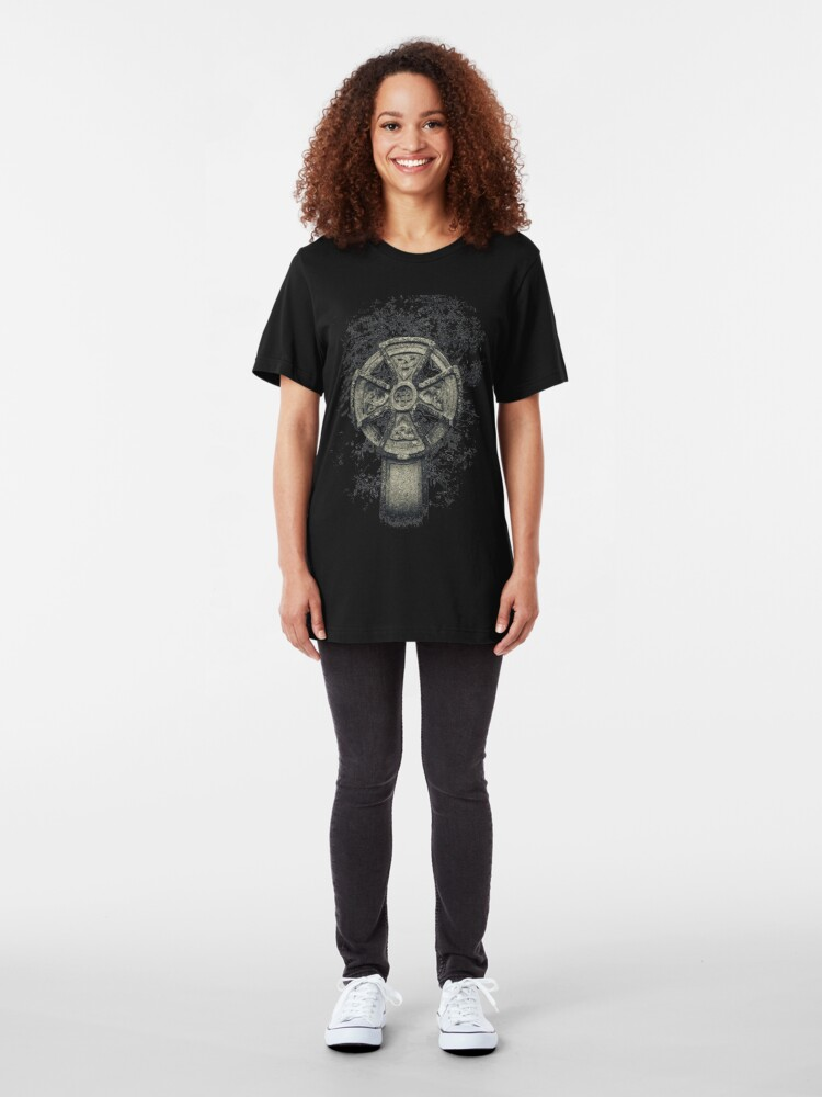 Alternate view of Celtic Cross Manx Graveyard Cemetery Viking Knot Traditional Slim Fit T-Shirt