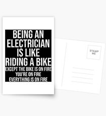 Funny Electrician Riding A Bike Fire T-shirt Postcards