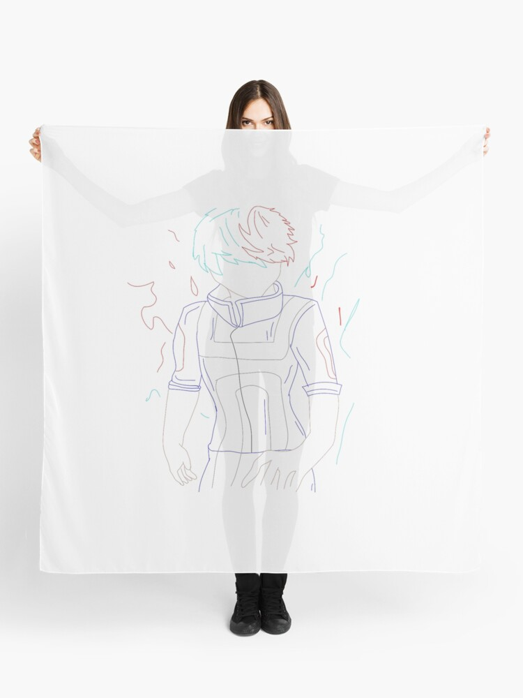 Shoto Todoroki Mha Line Drawing Scarf