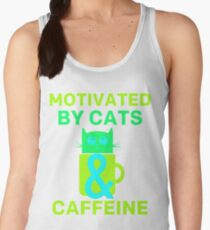 Motivated By Cats & Caffeine  Colorful Women's Tank Top
