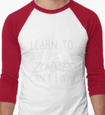 Learn To Kayak Zombies Can't Swim White Men's Baseball ¾ T-Shirt