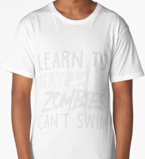 Learn To Kayak Zombies Can't Swim White Long T-Shirt