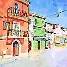 Borrello: glimpse with colored houses by Giuseppe Cocco