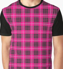 Scotland Woodcutter Buffalo Check Design - Dark Pink Color Model Graphic T-Shirt