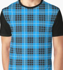 Scotland Woodcutter Buffalo Check Design - Blue Color Model Graphic T-Shirt